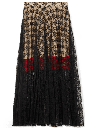 Christopher Kane - Pleated Lace Midi Skirt - Black