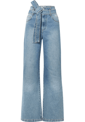 MSGM - Belted High-rise Wide-leg Jeans - Mid denim