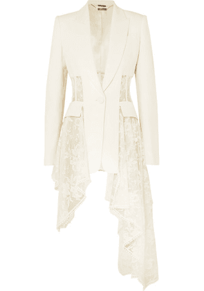 Alexander McQueen - Asymmetric Wool-blend Crepe And Lace Blazer - Ivory