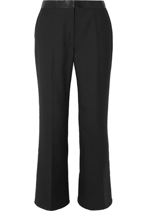 Elizabeth and James - Mira Cropped Satin-trimmed Twill Flared Pants - Black