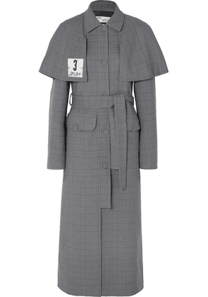 Off-White - Galles Appliquéd Checked Woven Trench Coat - Gray