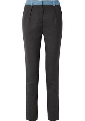 Mugler - Two-tone Wool Slim-leg Pants - Navy