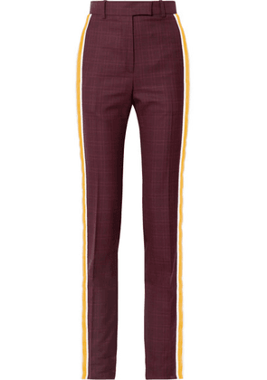 CALVIN KLEIN 205W39NYC - Prince Of Wales Checked Wool And Silk-blend Straight-leg Pants - Burgundy