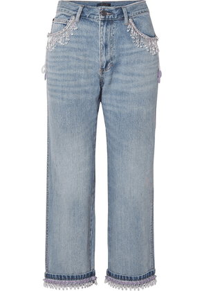 Marc Jacobs - Cropped Bead-embellished Boyfriend Jeans - Blue