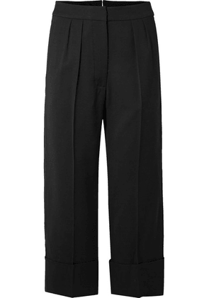 Burberry - Cropped Wool And Silk-blend Wide-leg Pants - Black