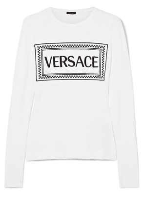 Versace - Embroidered Stretch-jersey T-shirt - White