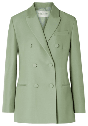 Valentino - Double-breasted Silk And Wool-blend Blazer - Mint
