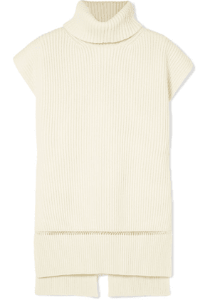 Alexander McQueen - Pointelle-trimmed Ribbed Wool And Cashmere-blend Turtleneck Sweater - Ivory