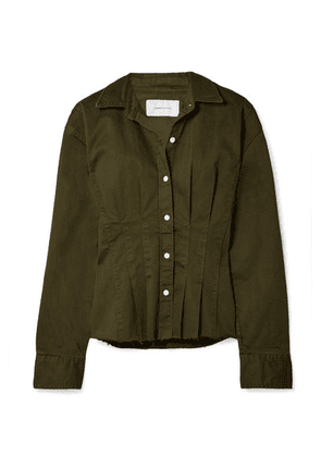 Current/Elliott - The Tella Pleated Cotton-blend Twill Jacket - Army green