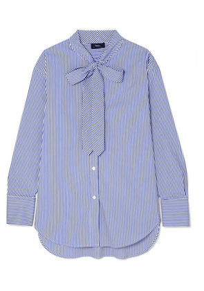 Theory - Weekender Pussy-bow Striped Cotton-blend Shirt - Blue