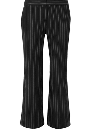 Alexander McQueen - Cropped Pinstriped Wool-blend Flared Pants - Black