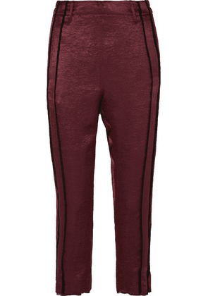 Ann Demeulemeester - Cropped Striped Hammered-satin Pants - Burgundy