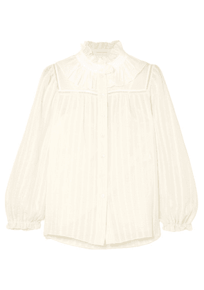 See By Chloé - Ruffle-trimmed Striped Cotton-blend Jacquard Blouse - White