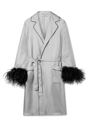 Prada - Feather-embellished Silk-twill Robe - Gray