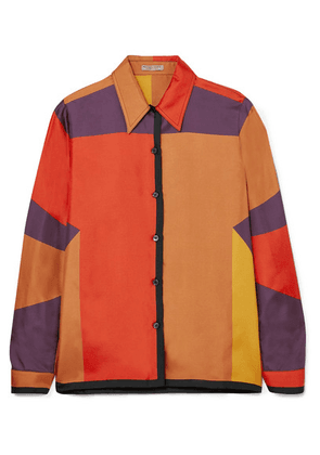 Bottega Veneta - Printed Silk-faille Shirt - Orange