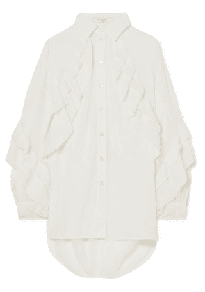 Givenchy - Pleated Ruffled Silk-blend Georgette Blouse - White