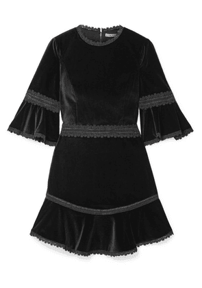 Alice + Olivia - Doloris Fluted Lace-trimmed Velvet Mini Dress - Black