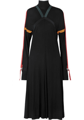 Burberry - Silk-trimmed Jersey Midi Dress - Black