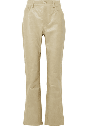 Acne Studios - Paneled Leather And Cotton-blend Twill Flared Pants - Beige