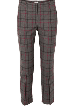 Brunello Cucinelli - Cropped Checked Wool-blend Tapered Pants - Gray