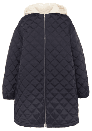 Jil Sander - Hooded Cotton Poplin-trimmed Quilted Shell Jacket - Navy