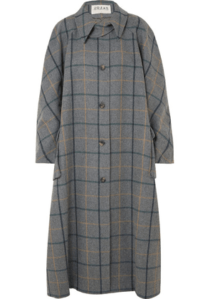 A.W.A.K.E. - Oversized Checked Wool-blend Coat - Anthracite