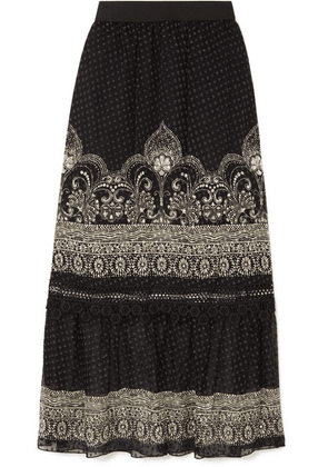 Anna Sui - Fountains Of Fancy Printed Fil Coupé Silk-blend Chiffon Maxi Skirt - Black