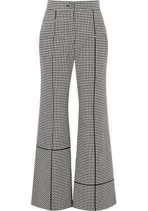 Loewe - Leather-trimmed Houndstooth Wool Wide-leg Pants - Gray