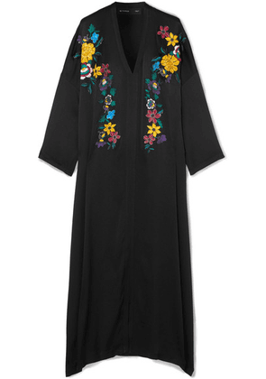 Etro - Embroidered Hammered Silk-blend Maxi Dress - Black