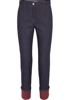 Bottega Veneta - Leather-trimmed High-rise Straight-leg Jeans - Indigo