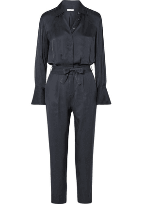 Equipment - Andrea Belted Washed-satin And Twill Jumpsuit - Navy