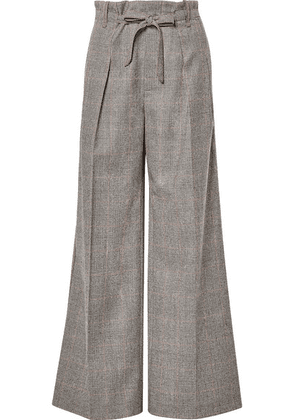 Roland Mouret - Woodcourt Belted Prince Of Wales Checked Wool Wide-leg Pants - Gray