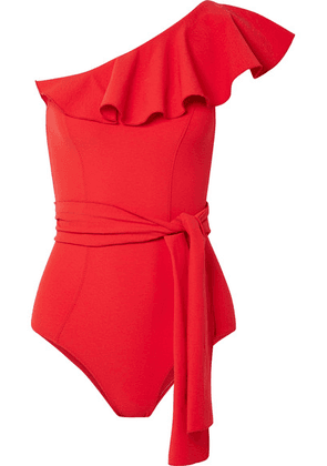 Lisa Marie Fernandez - Arden Ruffled One-shoulder Stretch-crepe Swimsuit - Tomato red