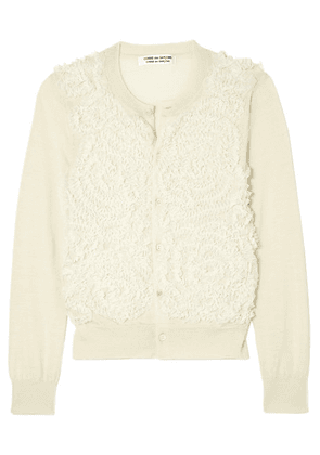 Comme des Garçons Comme des Garçons - Tulle-embroidered Wool Cardigan - Off-white