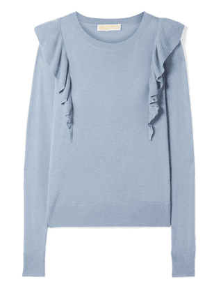 MICHAEL Michael Kors - Ruffle-trimmed Knitted Sweater - Sky blue