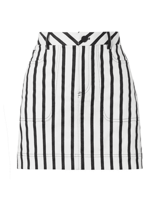Alice + Olivia - Gail Striped Cotton-blend Twill Mini Skirt - Black
