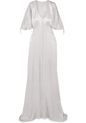 Les Héroïnes - The Hedy Ruched Metallic Satin Gown - Silver