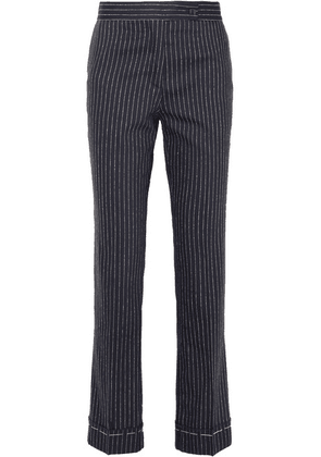 Golden Goose Deluxe Brand - Venice Pinstriped Wool And Silk-blend Slim-leg Pants - Navy