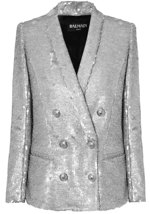 Balmain - Double-breasted Matte Sequined Crepe Blazer - Silver
