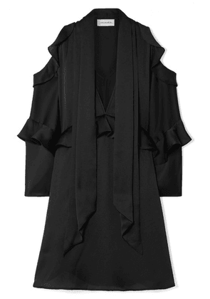 By Malene Birger - Alberto Cold-shoulder Ruffled Satin Mini Dress - Black