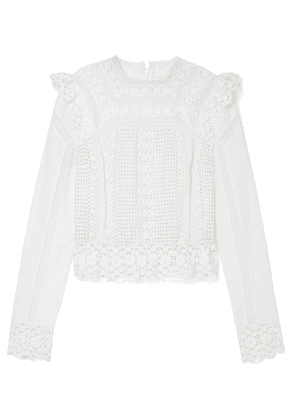 Zimmermann - Laelia Lace-trimmed Broderie Anglaise Cotton Top - Cream