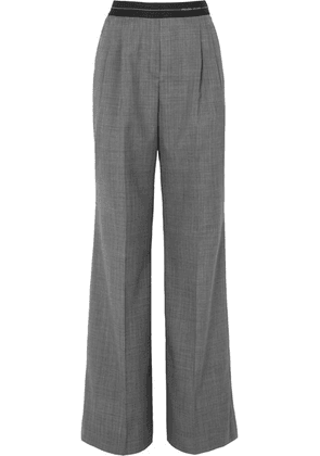 Prada - Checked Wool Wide-leg Pants - Gray
