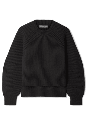 Alexander McQueen - Pointelle-trimmed Ribbed Wool And Cashmere-blend Sweater - Black