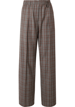 Brunello Cucinelli - Checked Wool-crepe Wide-leg Pants - Gray