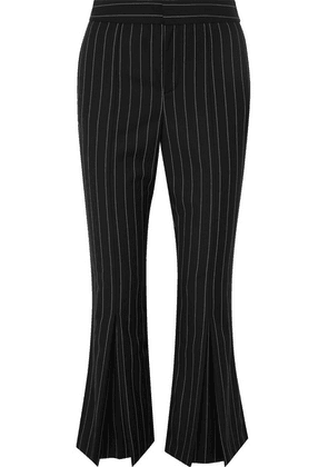 FRAME - Cropped Pinstriped Wool-blend Flared Pants - Black