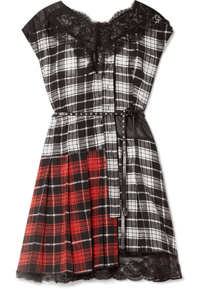 Marc Jacobs - Lace-trimmed Plaid Silk-chiffon And Shell Mini Dress - Black