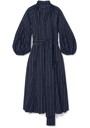 Lee Mathews - Goldie Striped Cotton-poplin Midi Dress - Midnight blue