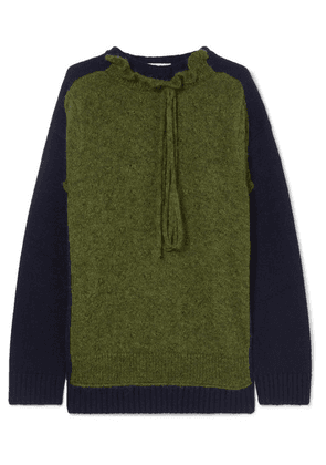 JW Anderson - Ruffle-trimmed Two-tone Merino Wool-blend Sweater - Army green