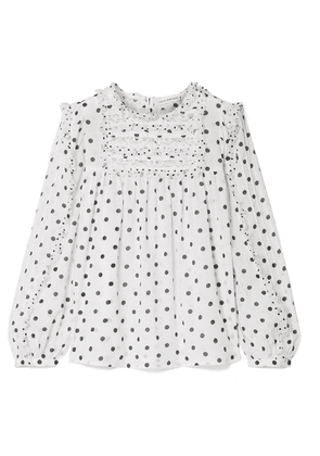 Ulla Johnson - Bailey Lace And Tulle Trimmed Polka-dot Voile Blouse - White