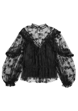Chloé - Ruffled Embroidered Tulle Blouse - Black